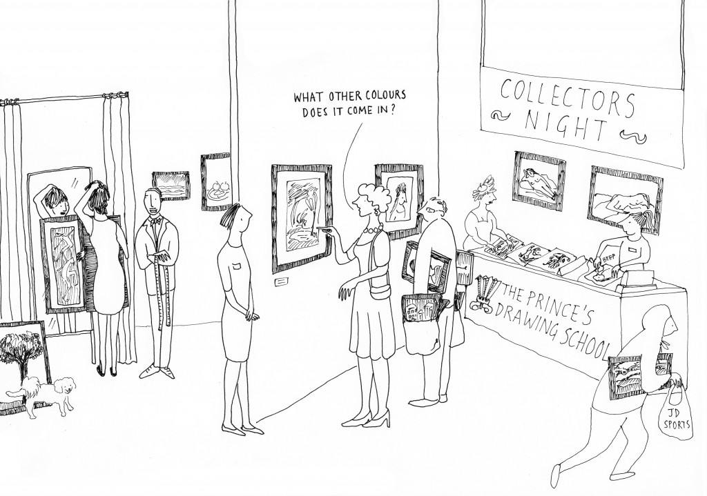 Invitation drawing for Collectors Night at The Prince's Drawing School